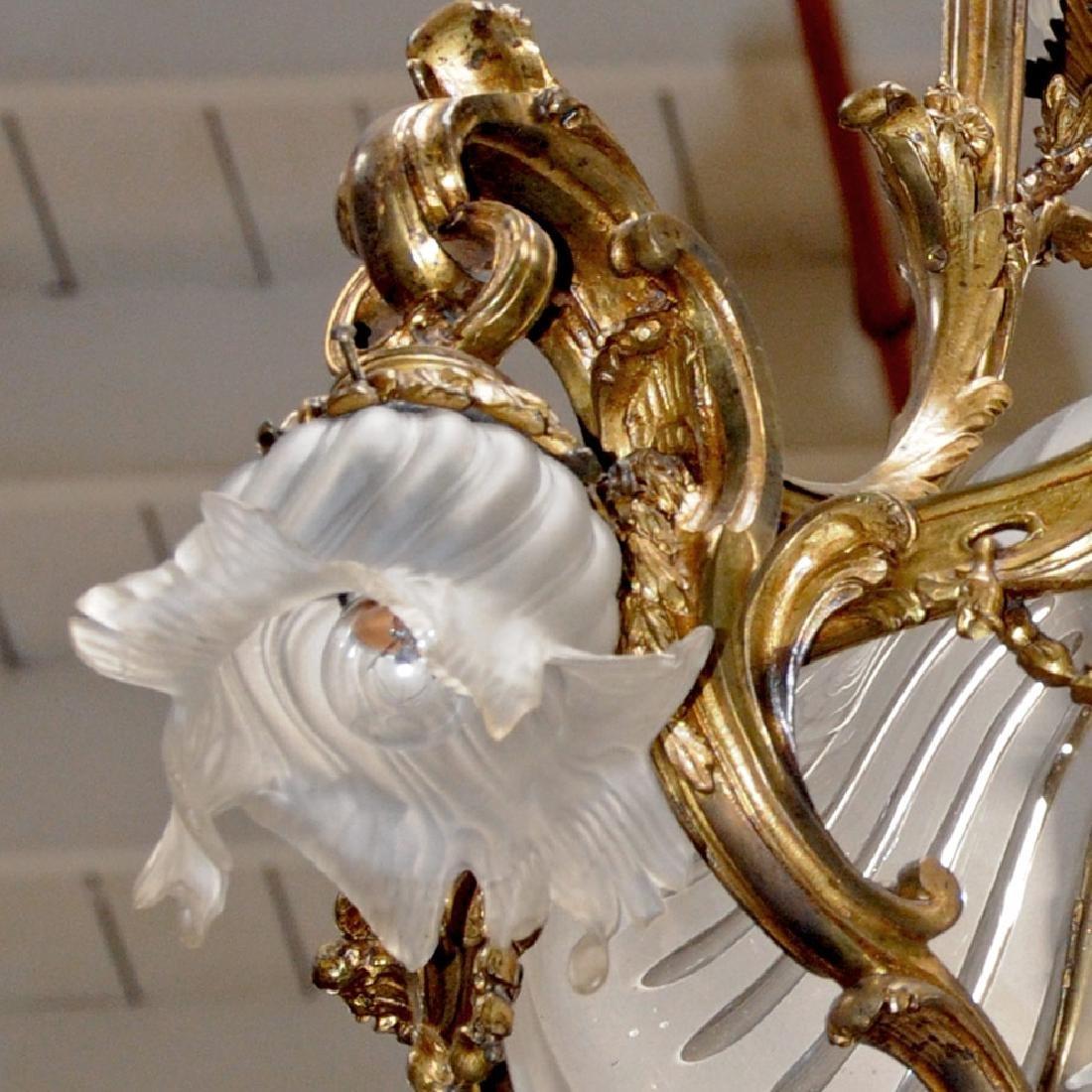 19th C. French Art Nouveau Bronze Chandelier - 5