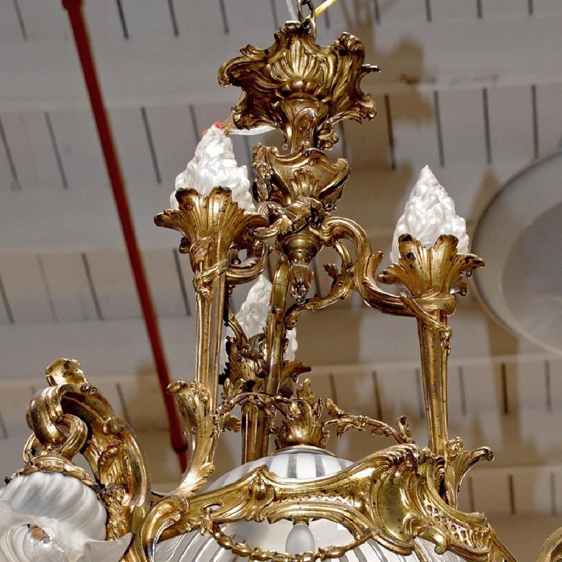 19th C. French Art Nouveau Bronze Chandelier - 7
