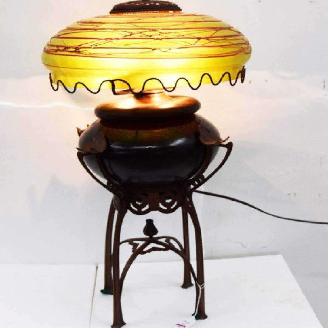 Austrian Iridescent Glass and Cast Metal Table Lamp, - 6