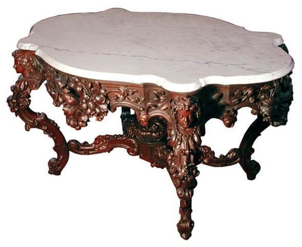 1: 5657 Rosewood Carved Marble Top Center Table by Roux