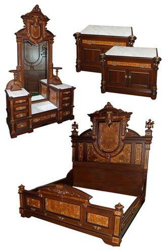 3: 3909 4-Pc. Walnut Victorian Bedset by Thomas Brooks