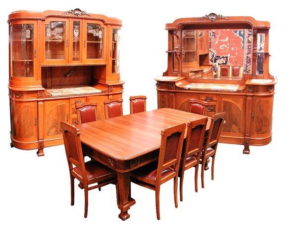 4: 11-Pc. Mahogany & Walnut Empire Dining Suite c. 1920