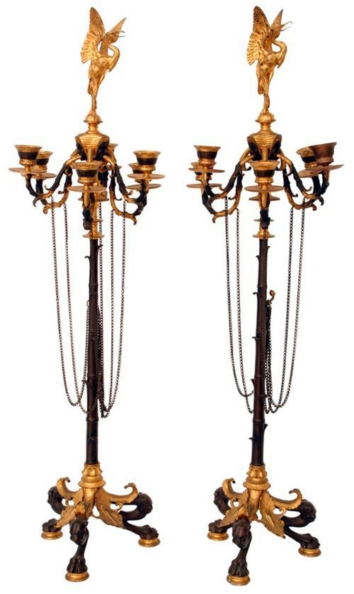 9: 7301 Pr. of Figural Regency Bronze 6-Arm Candelabras