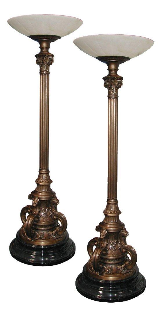 10: 4769 Pair of 7'H Bronze Paris Opera Torcheres