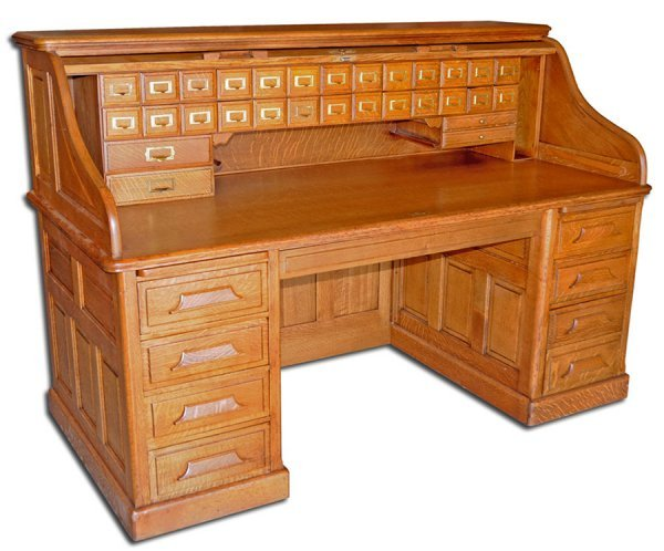 12: 1638 Fantastic 19th C. American Oak Rolltop Desk