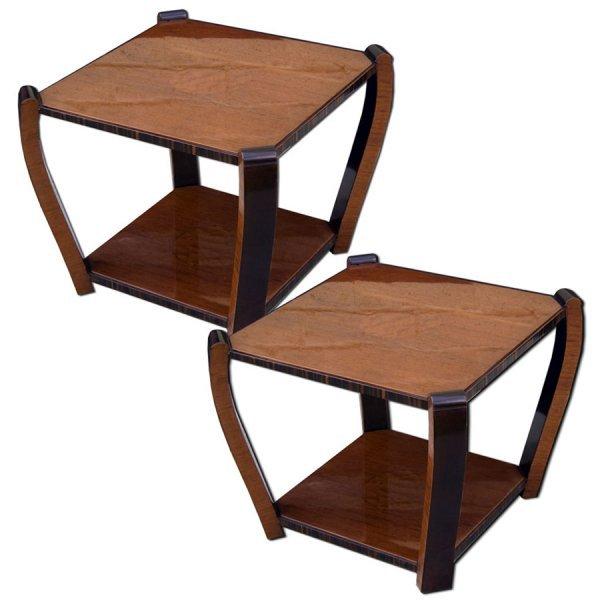 13: 7020 Elegant Pair of Art Deco End Tables