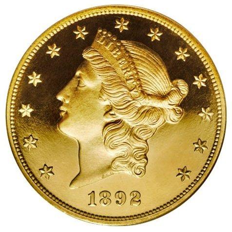 C0069 Proof Liberty Double Eagle, 1892 $20 PR66 UC NGC