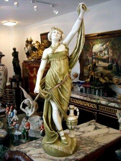 1002: 6999 Large Antique Art Noveau Lady Statue