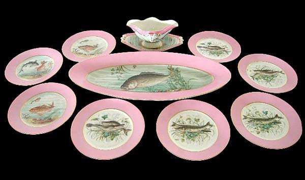 1006: 83.5586 Hand Painted 10-Pc. Fish Plate Set by Hav