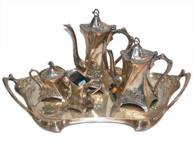 1007: 83.5981 Best WMF Silver Plate Art Nouveau Tea Set
