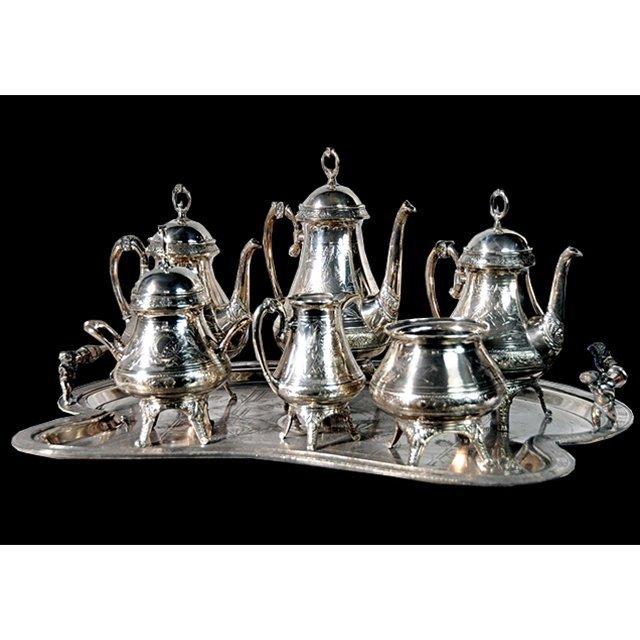 1009: 4536 Antique 7-Piece Victorian Silver Plate Tea S