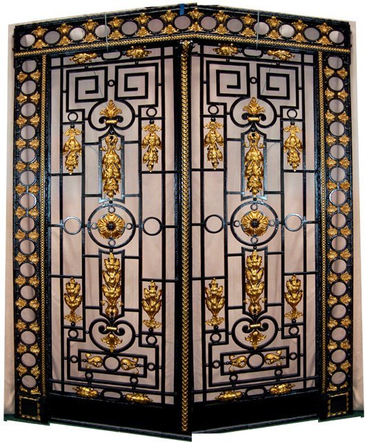1010: 65.5900 Gorgeous Framed Iron Entry Doors c. 1890