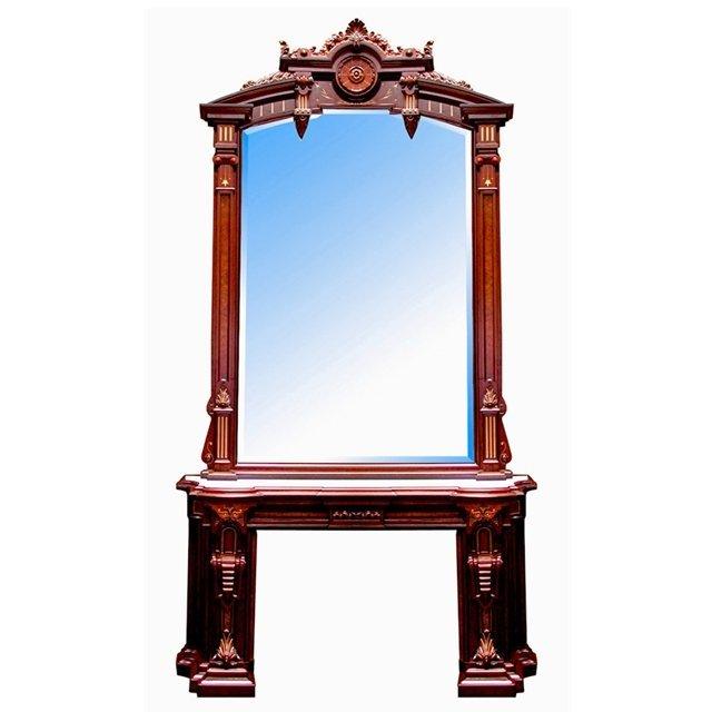 1013: 72.4878 Massive Antique Victorian Mantel & Over M