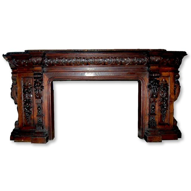 1014: 72.7318 Antique Carved Mahogany Fireplace Mantel