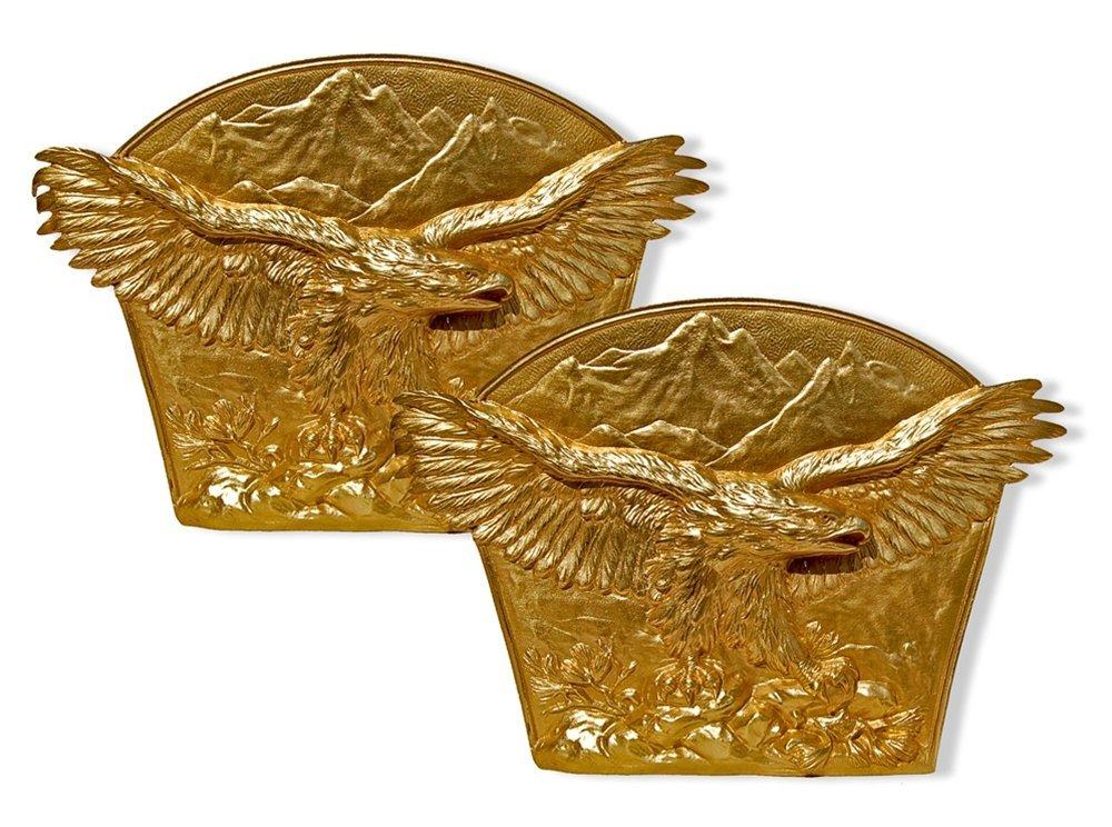 1015: 7039 Pair of Antique Gilt Bronze Eagle Bookends