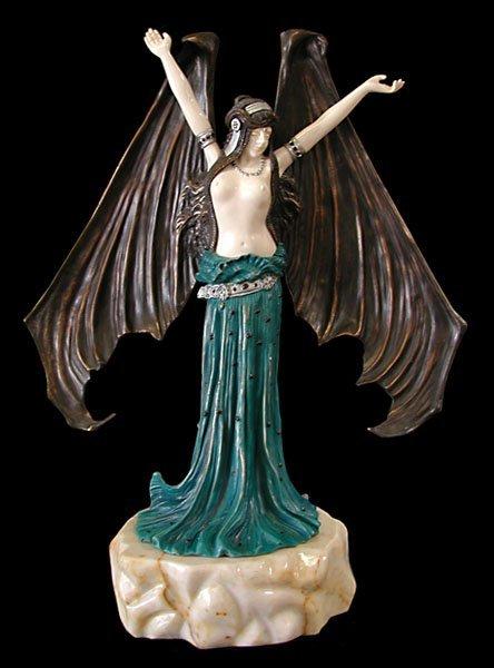 """1018: 6367 Fantastic Art Deco Sculpture """"Bat Lady"""" by A"""