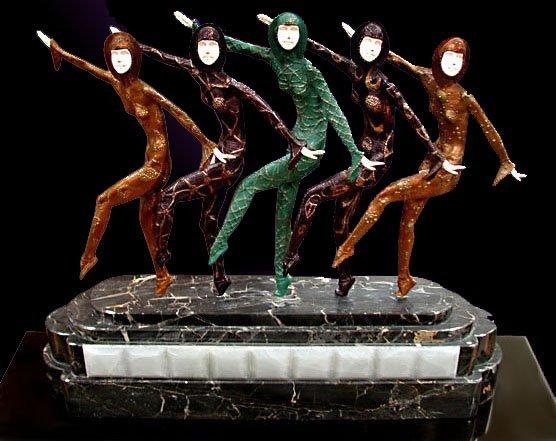 """1019: 6371 Fabulous Art Deco Sculpture """"Chorus Line"""" by"""