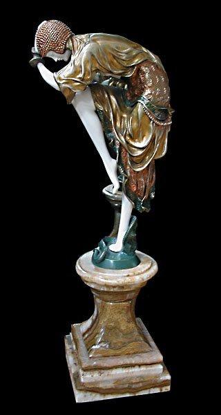 """1020: 6380 Beautiful Art Deco Sculpture """"Snake Dancer"""""""