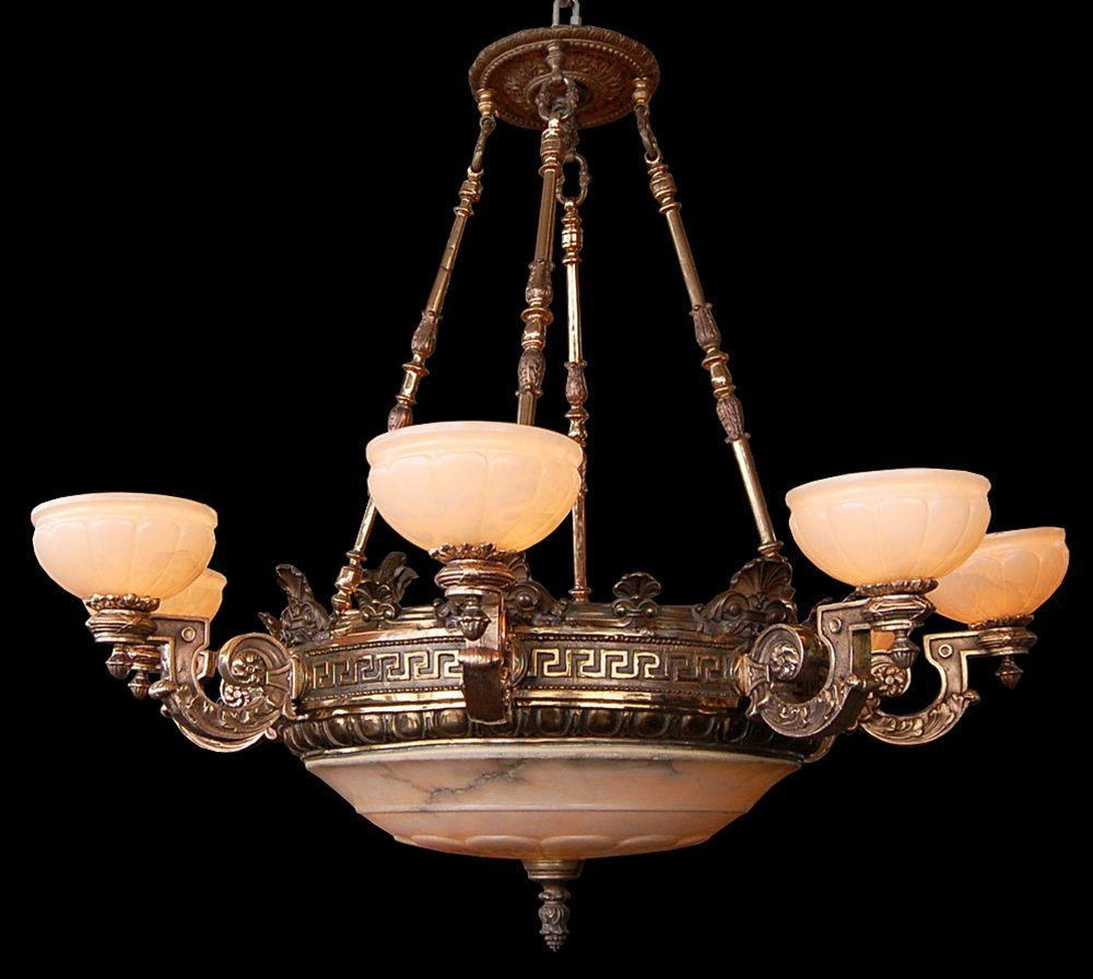 2004: 7459  19th C. 8-Arm Bronze Justice Chandelier