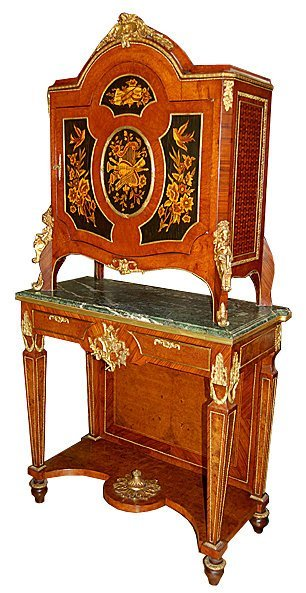 2008: 5894 2-Tier Inlaid Cabinet with Green Marble Top