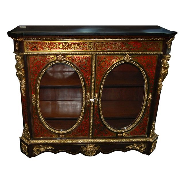 2009: 6013 Large Antique 2-Door Boulle Red Cabinet