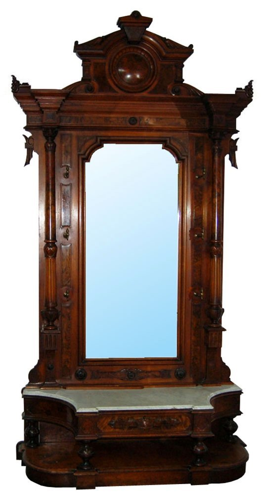 2018: 7110 Large Carved American Victorian Hall Mirror
