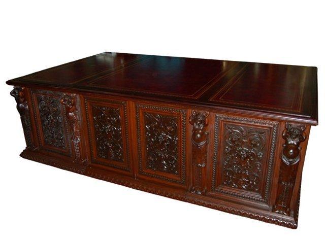 2166: 699 Massive Figural Carved Executive Desk