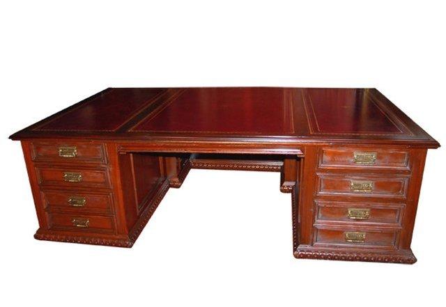 2166: 699 Massive Figural Carved Executive Desk - 2