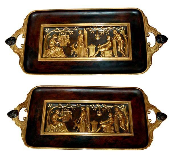 3022: 6652 Fantastic Pair of French Bronze Trays with S