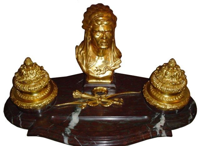 3024: 5995 Bronze & Marble American Indian Head Inkwell