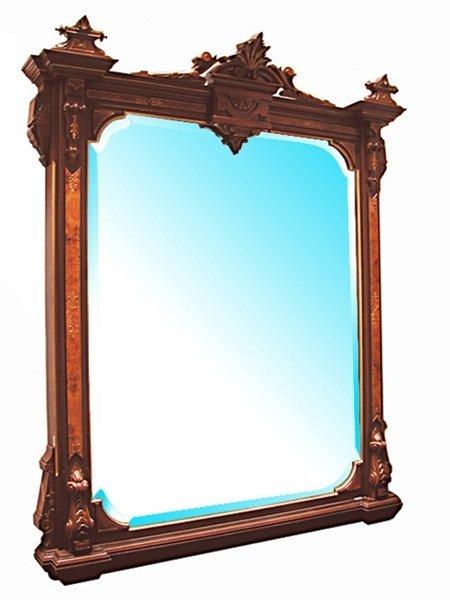 0334 American Renaissance Revival Walnut Wall Mirror