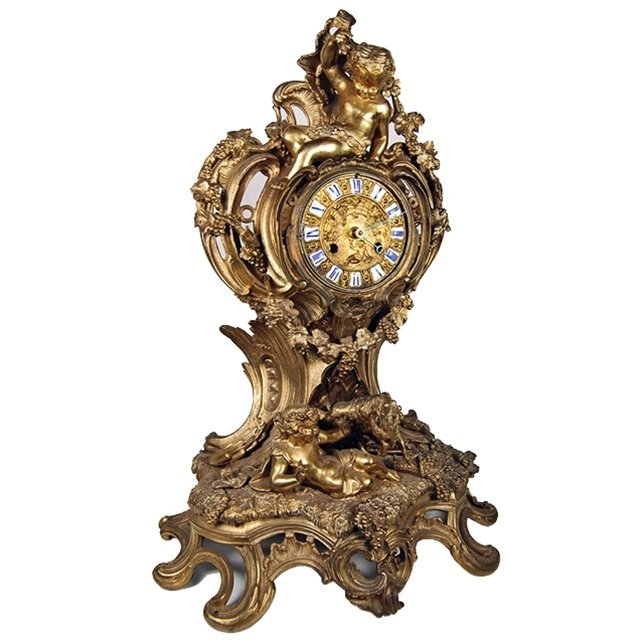 114 French Dore Bronze Ornate Clock with Cupids c. 1880