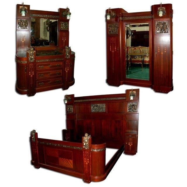 1197 3-Pc. Italian Mahogany King-Size Bedroom Suite
