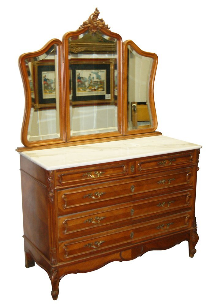 1198 Beautiful French Walnut Dresser with 3-Part Mirror