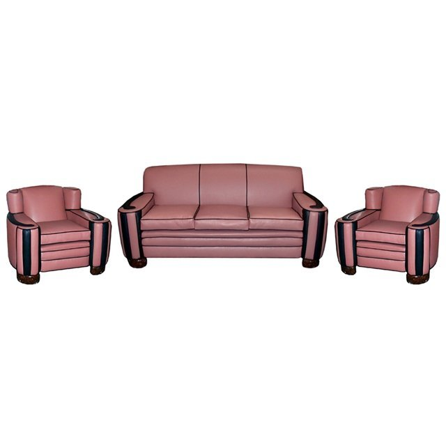 1375 3-Pc. Art Deco Cloud Style Parlour Set in Pink & B