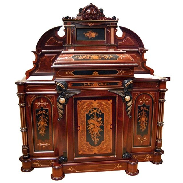 1385 Spectacular Inlaid Cabinet by Herter Brothers