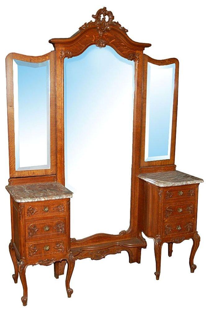 1875 Unusual Louis XV Oak Chevel Mirror with Dresser