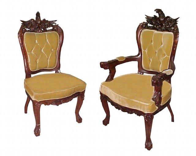 2137 Fabulous 8-Piece Carved Eagle Chair Set c. 1885