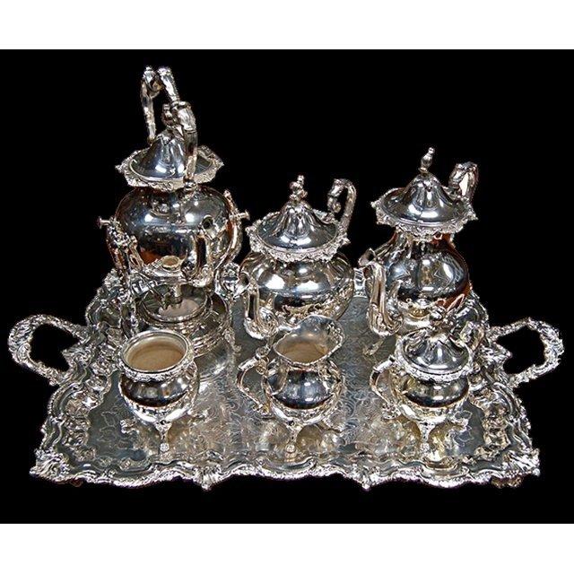2529 Large American Eastlake 7-Pc. Silver Plate Tea Set
