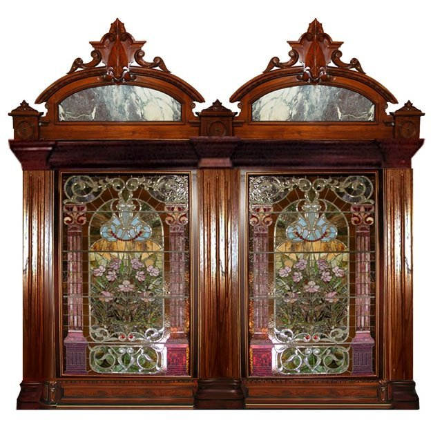 4454B Pair John Lafarge Jeweled Beveled & Stained Glass