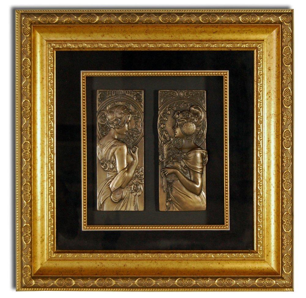 7194 Pair of Framed Bronze Art Nouveau Plaques