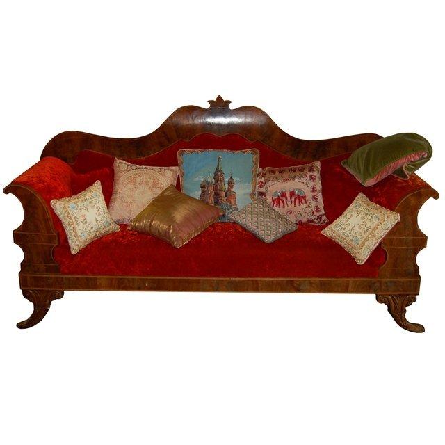 7430 Antique 19th C. Sofa Upholstered in Red Velvet