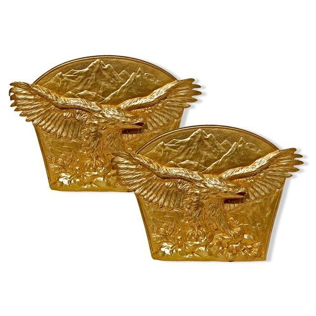7039 Pair of Antique Gilt Bronze Eagle Bookends