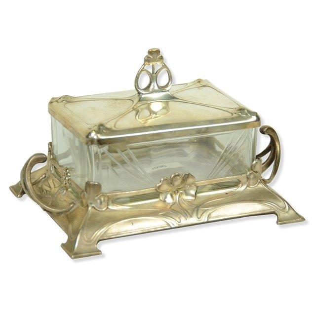 7036 Antique Art Nouveau Silver Plate & Glass Jewel Box