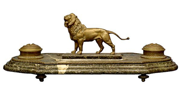 6039 Magnificent Antique Bronze Lion Inkwell with Marbl