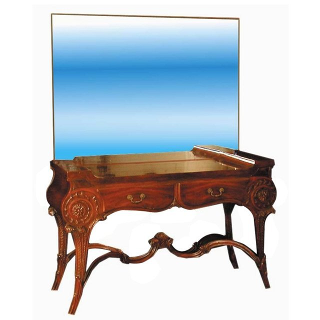 1955 Neo-Classical Mirrored Mahogany Two-Drawer Vanity