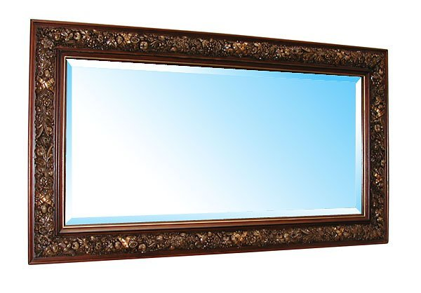 3518 Double Frame Beveled Mirror with Floral Carvings