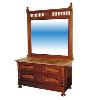 4428 Beautiful Eastlake Dresser with Marble Top & Bevel