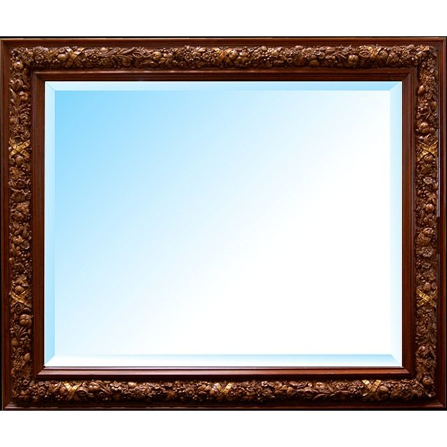 3518B Double Frame Beveled Mirror with Floral Carvings