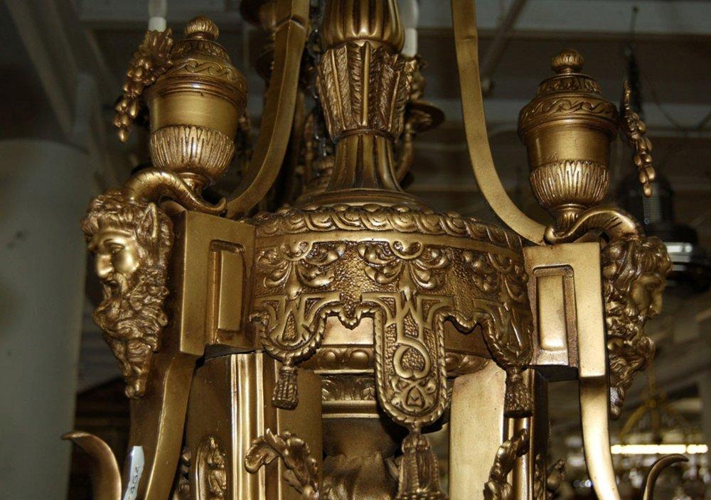 7454 Antique French Belle Époque Bronze Chandelier - 5